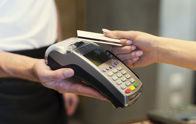 making a payment with a card reader machine